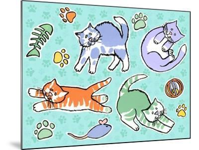 Fun Kitties Pawprints-Geraldine Aikman-Mounted Giclee Print