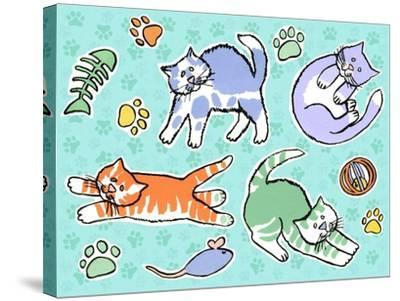 Fun Kitties Pawprints-Geraldine Aikman-Stretched Canvas Print