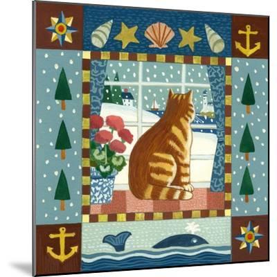 Folk Art Cat Winter-Geraldine Aikman-Mounted Giclee Print