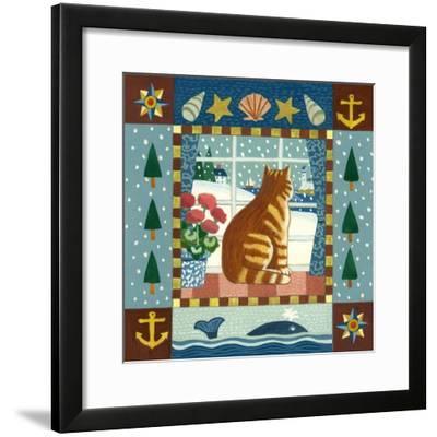 Folk Art Cat Winter-Geraldine Aikman-Framed Giclee Print