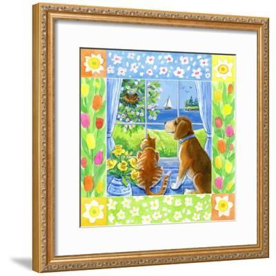 Spring Cat and Dog-Geraldine Aikman-Framed Giclee Print