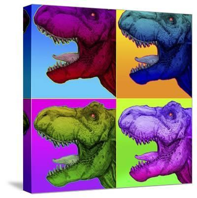 Pop Art Dinosaurs 1-Howie Green-Stretched Canvas Print