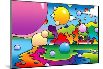 Bubbles Landscape-Howie Green-Mounted Giclee Print