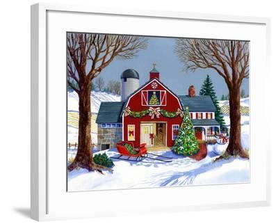 The Red Sleigh Barn-Geraldine Aikman-Framed Giclee Print