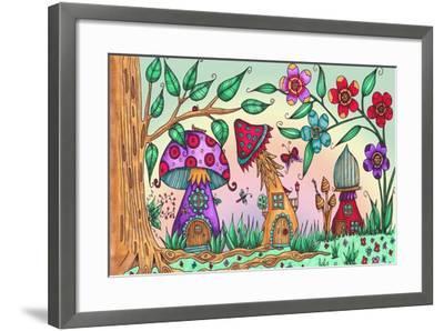 Mushroom Houses Coloured-Delyth Angharad-Framed Giclee Print