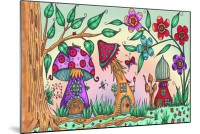 Mushroom Houses Coloured-Delyth Angharad-Mounted Giclee Print