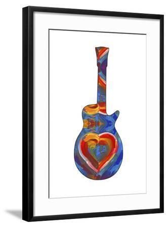 Pop Art Guitar Heart Brush-Howie Green-Framed Giclee Print