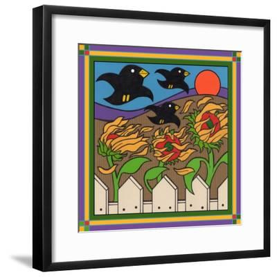 Sunflowers 3 with Kernel and Friends-Denny Driver-Framed Giclee Print