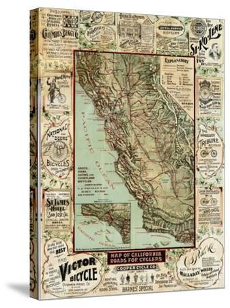 California Bicycle Map-Marcus Jules-Stretched Canvas Print