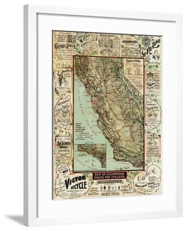 California Bicycle Map-Marcus Jules-Framed Giclee Print