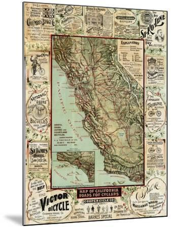 California Bicycle Map-Marcus Jules-Mounted Giclee Print