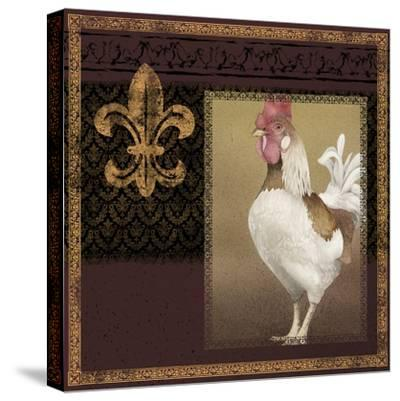 Rooster Ware Burgundy III-Kory Fluckiger-Stretched Canvas Print