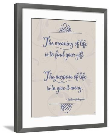Meaning of Life Per Shakespeare-Leslie Wing-Framed Giclee Print