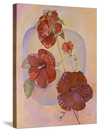 Red Hibiscus-Judy Mastrangelo-Stretched Canvas Print