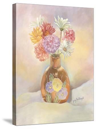 Vase of Mums-Judy Mastrangelo-Stretched Canvas Print