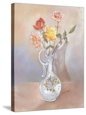 Vase of Roses-Judy Mastrangelo-Stretched Canvas Print