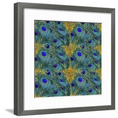 Gold Speckled Peacock Pattern-Tina Lavoie-Framed Giclee Print