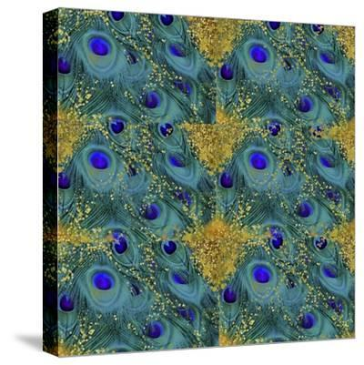 Gold Speckled Peacock Pattern-Tina Lavoie-Stretched Canvas Print
