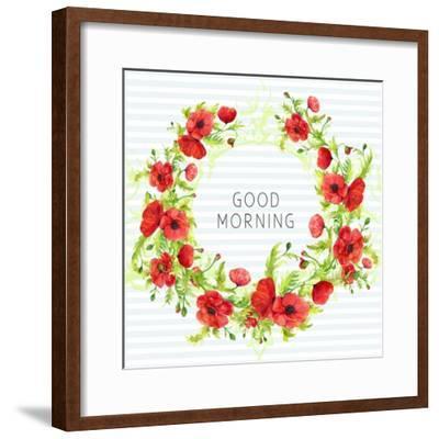 Summertime Poppies Wreath-Irina Trzaskos Studios-Framed Giclee Print