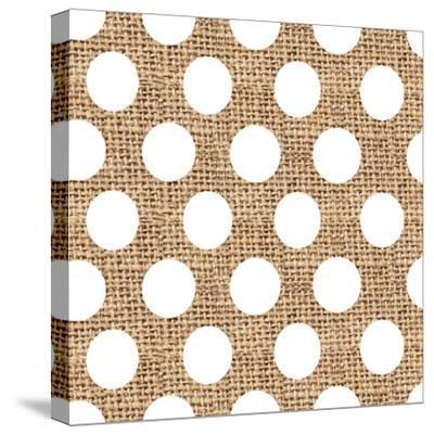 White Burlap Dots-Joanne Paynter Design-Stretched Canvas Print