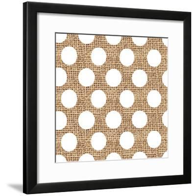 White Burlap Dots-Joanne Paynter Design-Framed Giclee Print