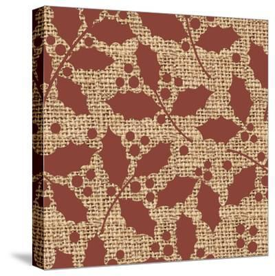 Red Holly Branches Burlap-Joanne Paynter Design-Stretched Canvas Print