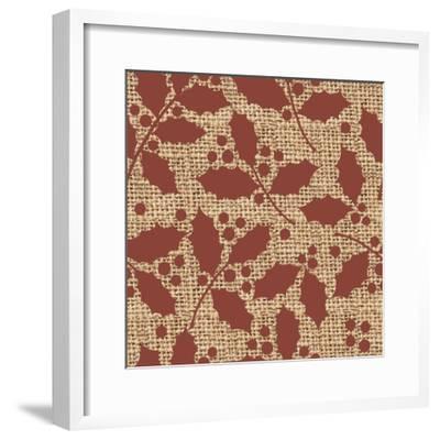 Red Holly Branches Burlap-Joanne Paynter Design-Framed Giclee Print