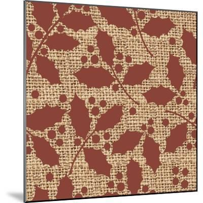 Red Holly Branches Burlap-Joanne Paynter Design-Mounted Giclee Print