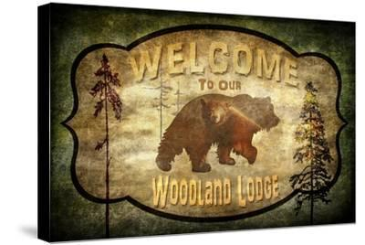 Welcome Lodge Bear-LightBoxJournal-Stretched Canvas Print