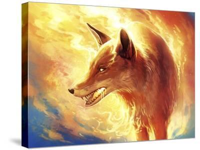 Fire Fox-JoJoesArt-Stretched Canvas Print
