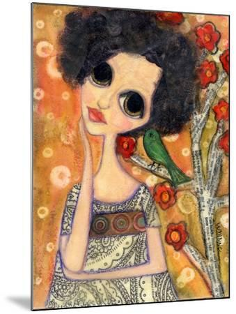 Big Eyed Girl a Birdy Told Me-Wyanne-Mounted Giclee Print