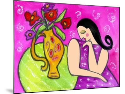 Big Shy Diva and Flower Vase-Wyanne-Mounted Giclee Print