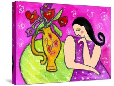 Big Shy Diva and Flower Vase-Wyanne-Stretched Canvas Print