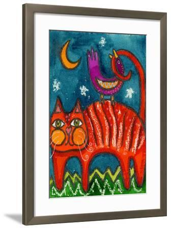 Birdy Got My Tail Kitty-Wyanne-Framed Giclee Print