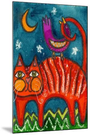 Birdy Got My Tail Kitty-Wyanne-Mounted Giclee Print