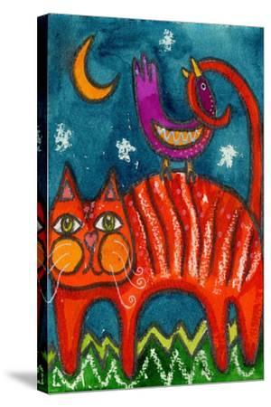 Birdy Got My Tail Kitty-Wyanne-Stretched Canvas Print