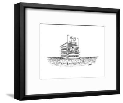 """A man stands in a shop on a desert island with a sign that reads """"Maps of ... - New Yorker Cartoon-Tom Cheney-Framed Premium Giclee Print"""