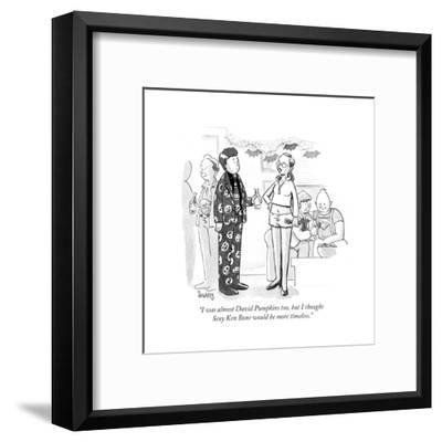 """I was almost David Pumpkins too, but I thought Sexy Ken Bone would be mor?"" - Cartoon-Benjamin Schwartz-Framed Premium Giclee Print"