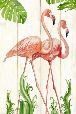Flamingo Stroll 1-Mary Escobedo-Framed Art Print