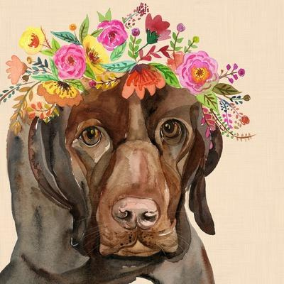 Dog with a Wreath of Colorful Blossoms I-Jin Jing-Framed Art Print