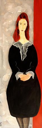 Modigliani Jean Hebuterne with Black Dress, 2016-Susan Adams-Framed Giclee Print