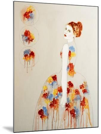 Redhead with Red and Blue Flowers, 2016-Susan Adams-Mounted Giclee Print