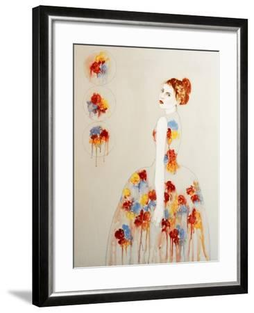Redhead with Red and Blue Flowers, 2016-Susan Adams-Framed Giclee Print