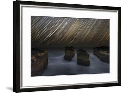 Time-Exposure of Star Trails Above the Shore of Southern Ocean in Victoria, Australia-Babak Tafreshi-Framed Photographic Print