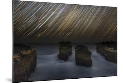 Time-Exposure of Star Trails Above the Shore of Southern Ocean in Victoria, Australia-Babak Tafreshi-Mounted Photographic Print