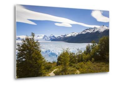A View Looking Through the Trees of the Top of the Perito Moreno Glacier in Argentina-Mike Theiss-Metal Print