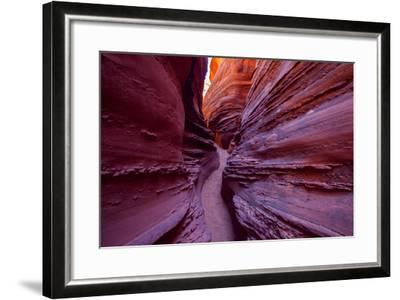 A Narrow, Winding Passage in Spooky Slot Canyon-Ben Horton-Framed Photographic Print