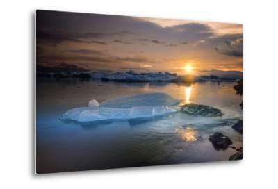 Sunset over Glacier Bay in Iceland-Keith Ladzinski-Metal Print