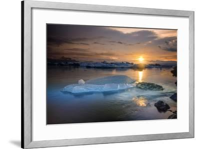 Sunset over Glacier Bay in Iceland-Keith Ladzinski-Framed Photographic Print