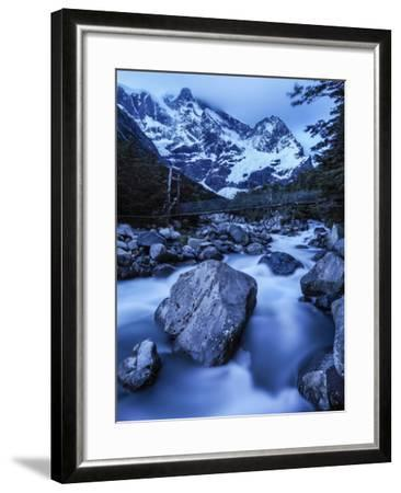 Rio Del Frances Cascades Out of the Valle Frances in Torres Del Paine National Park-Jay Dickman-Framed Photographic Print